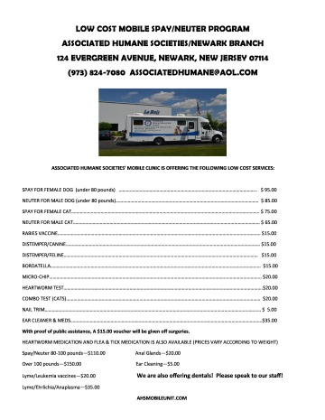 Schedule of Fees for Mobile Vet Clinic