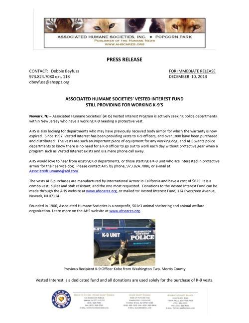 AHS Vested Interest Press Release Dec 2013